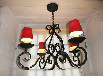 French solid chandelier 4 light  wrought iron  vintage gorgeous with shades