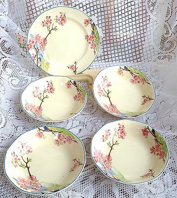 "4 Royal Tudor Ware"" Bloosom Time"" Fruit Nappys - Art Deco Hand Painted  (605)"