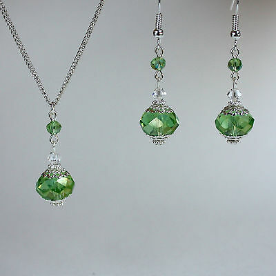 Light green crystal silver necklace earrings wedding bridesmaid jewellery set