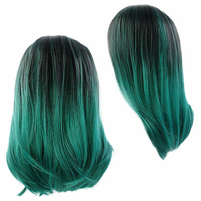 Sexy Lace Front Short Straight Wig Synthetic Hair Ombre Black And Dark Green