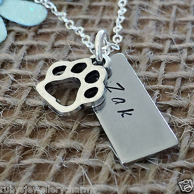 Personalised Pet Name, Loss of a Pet, Pet Memory Necklace, Personalised Necklace