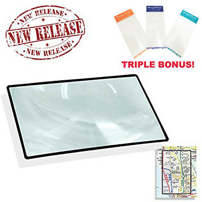 Premium 3X 300% Page Magnifying Lens With 3 Bonus Credit Card Sized Magnifiers