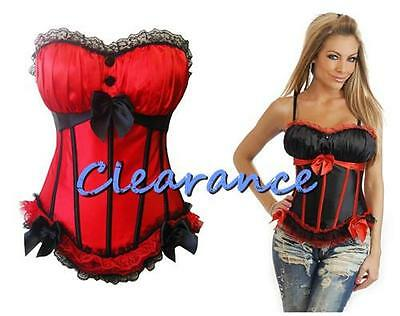 Black Red Satin Corset Top Bonning Lace-up M-XL CLEARANCE AU 8-14