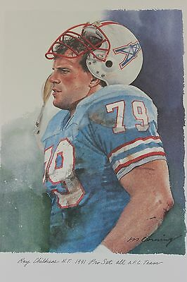 Ray Childres Houston Oilers Texas A&M Merv Corning NFL All ProBowl AFC Set Litho