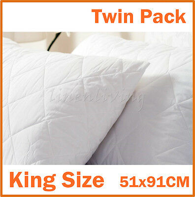 Pair of King Size Quilted Pillow Protector 100% Cotton Cover 51x91cm