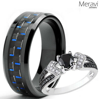 His Black Tungsten Blue Carbon Her 925 Sterling Silver Wedding Ring Mens Womens