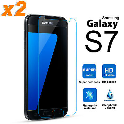 2x Premium Clear Tempered Glass Screen Protector Guard For Samsung Galaxy S7