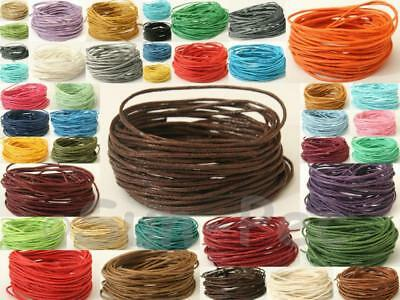 Waxed Hemp rope 1mm 36clrs thread cord 5-50yr Jewelry Macrame Crafts Knotting