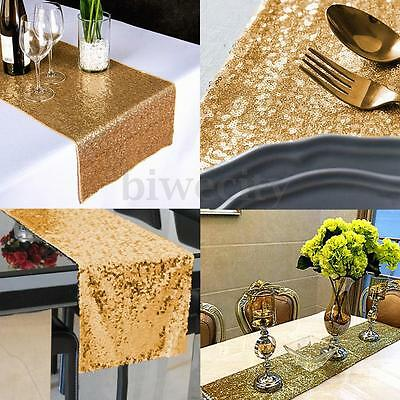 30cm*270CM Sparkly Light Gold Sequin Table Flag Runner Cloth For Party/Wedding