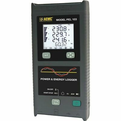 AEMC PEL 103 2137.52 Single/3-Phase Power & Energy Logger w/ LCD & 3 MA193-10-BK