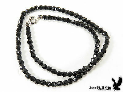 Vintage Faceted Jet Black Glass Bead Choker Necklace Jewelry