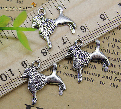 Wholesale Jewelry Making Peace Cute Poodle Dog alloy charm pendant DIY 18x18 mm
