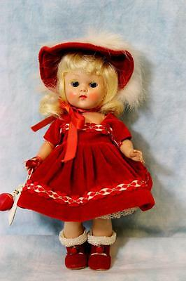 "8"" Painted Lash Ginny Doll ""Debutante"" Red Velvet Dress from 1953 Orig. Clothes"