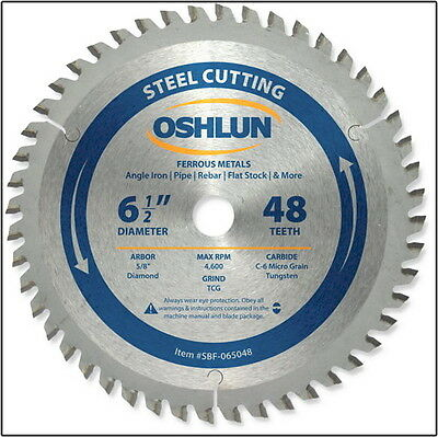 "OSHLUN SBF-065048 6-1/2"" x 48T Steel Cutting Saw Blade 5/8-Inch/Diamond Arbor"