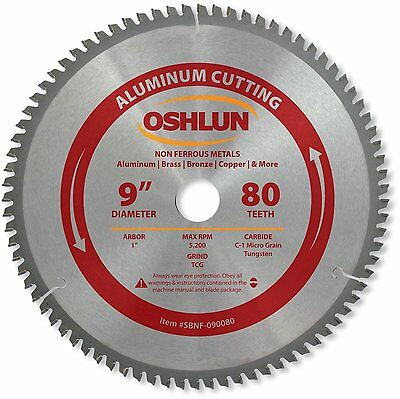 Oshlun SBNF-090080 9-Inch 80 Tooth TCG Saw Blade with 1-Inch Arbor for Aluminum