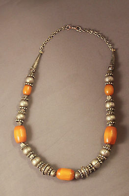 Bakelite Arabic African Yemen white metal Butterscotch amber necklace beads