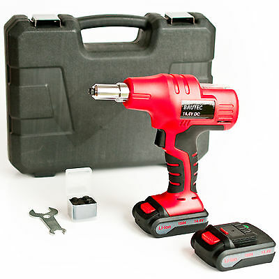 BAUTEC Cordless Riveter / Rivet Gun with two 1.5 Ah Li-Ion Battery / rivnut tool