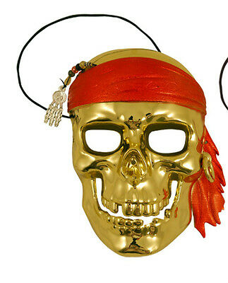 Gold Full Face Pirate Masquerade Mask,Venetian Style Ball Curved Unisex Mask