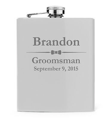 Engraved 7oz White Stainless Steel Hip Flask PERSONALIZED Wedding Bow Tie