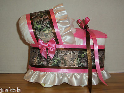 Hot Pink Hunting Camo Girl Diaper Bassinet Baby Shower Table Decoration