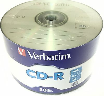 Verbatim 97488 CD-R CDR 52x Logo Branded Disc 80Min 700MB Wrap 1X50 Pack