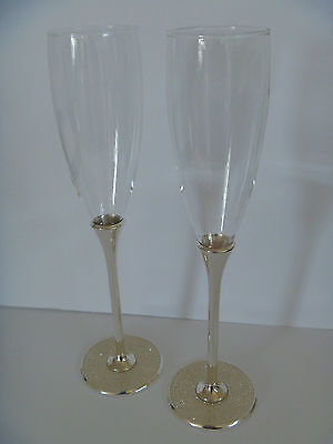 Wedding Toasting Glasses with crystal rhinestones / Champagne Flute / bridal