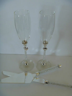 Wedding Toasting Glasses & Serving Set with crystal stem heart / Champagne Flute