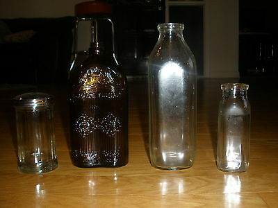 "Lot Of 4 Rare Antique Collectible Trade W Mark Medicine/milk Bottles 6""/9""/10"""