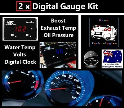 2 x Digital Gauges *Boost EGT Temp Turbo Skyline WRX EVO XR6 8 4WD Hilux Patrol*