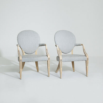 Elegant Pair of 20th Century Painted Armchairs. Newly Upholstered. Antique.