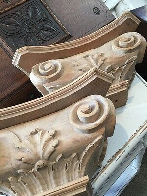 A Pair Of Antique French Carved Pine Decorative Classical Corbels