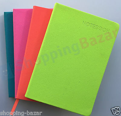 A4/A5 Premium Soft Touch Notebook Notepad Feint Ruled Page Neon Colours Hardback