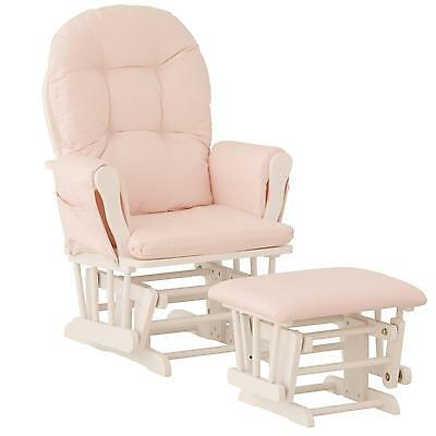 Nursery Glider Chair Baby Rocker Furniture Ottoman Set Pink White Wood Infant