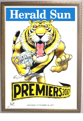 RICHMOND TIGERS 2017 AFL PREMIERS GRAND FINAL PREMIERSHIP KNIGHT POSTER Framed