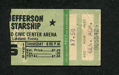 Original 1976 Jefferson Starship Concert Ticket Stub Lakeland Florida
