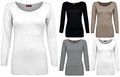 Brand New Ladies Womens Plain Crew Neck Stretchy Fitted Long Sleeve Viscose Top