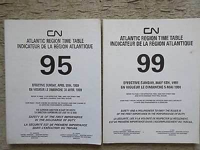 2 Old 1989-91 CNR Canadian National Railways Time Tables Maritime Area
