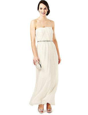 M&S Belted Ivory Full Length Bridesmaid Dress Size 10