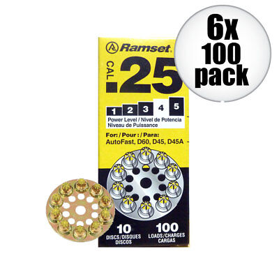 6pk 10 Discs of 10 (600 total) #4 Yellow 25 cal Round Disc Loads Ramset 4D60 New