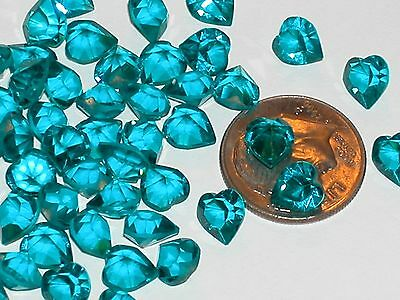 10pc Sparkly Aqua Swarovski Heart Crystals wholesale partial unfoil gems 6x6.5mm