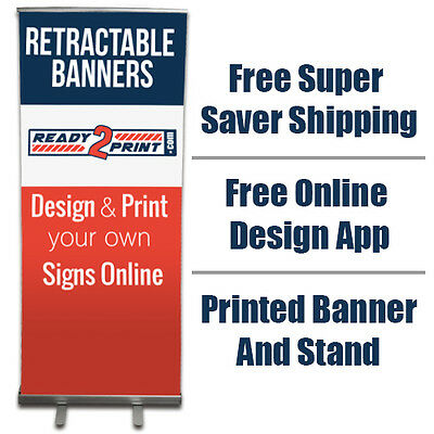 "Custom Printed Retractable Banner (33"" x 83"")  - FREE SHIPPING"