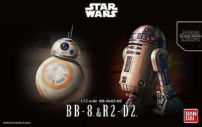 New Star Wars BB-8 & R2-D2 1/12 scale plastic model Bandai Free postage Japan