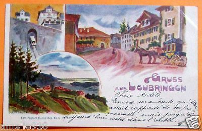 German Postcard Street Party Carriage,Valley.Postlly 1898. Full Postmark w stamp