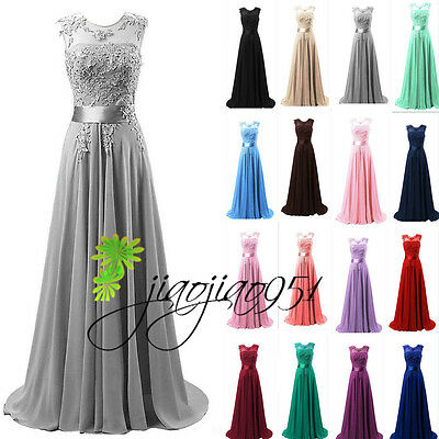 Long Chiffon Formal Bridesmaid Dress Evening Cocktail Prom Party Gown Stock 6-20