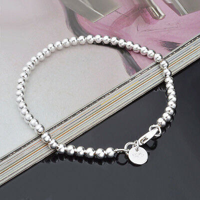 New Women Jewelry 925 Sterling Silver Plated Beads String Chain Bracelet Bangle