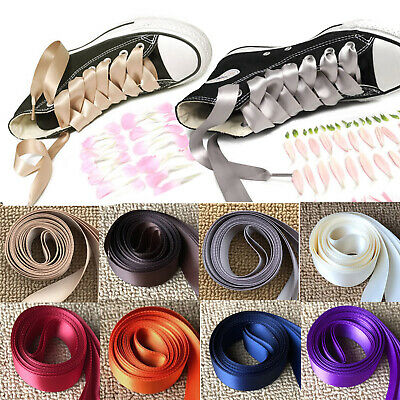 120/80CM Women Girls Silk Ribbon Flat Shoelaces Shoe Laces Shoestrings Sneaker
