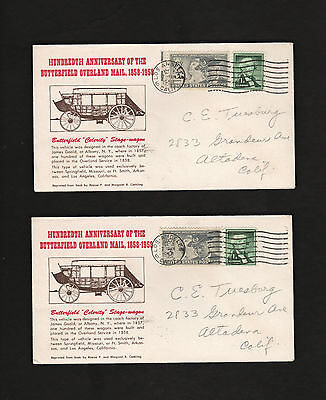 two 1958 envelopes Butterfield Overland Mail stage wagon Charles E Tuesburg *lot