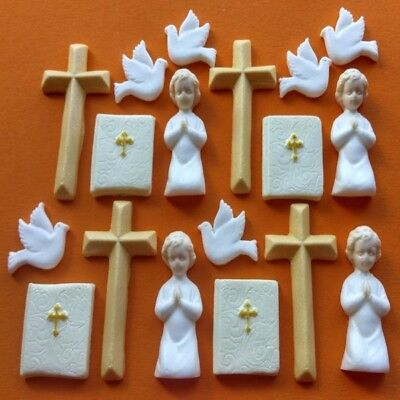 18 Edible sugar christening communion cross dove bible cake toppers decorations