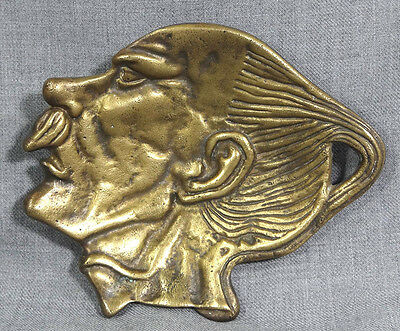 Antique Asian China Chinese Figural Man Head Art Bronze Brass Pin Coin Tray Dish