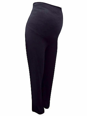 Maternity Black Roll-Over Trousers Lounge Pants Jersey Size 14-16